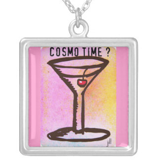 COSMO TIME MARTINI PRINT by Jill Get your party on Silver Plated Necklace