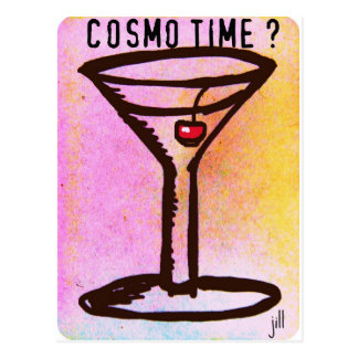 COSMO TIME PASTEL MARTINI 60s print by jill Postcard