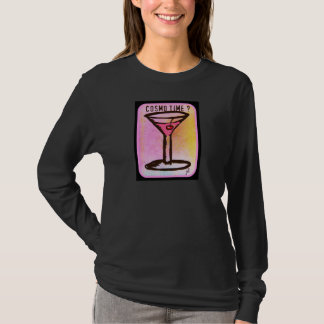 COSMO TIME PINK MARTINI PRINT T-Shirt