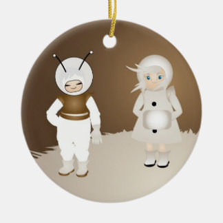 Cosmonaut and girl Double-Sided ceramic round christmas ornament
