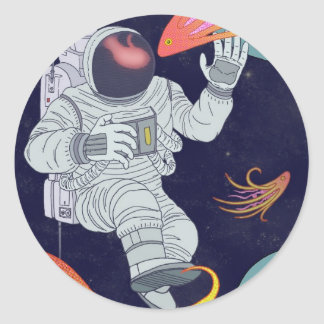 Cosmonaut Classic Round Sticker