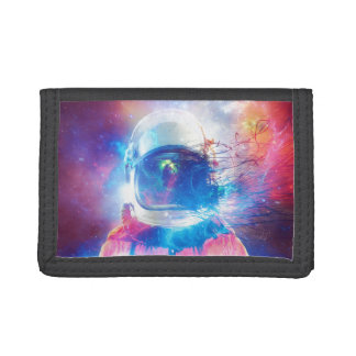 Cosmonaut space suit multicolored. trifold wallet