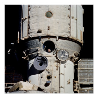 Cosmonaut views Discovery through Mir window Poster