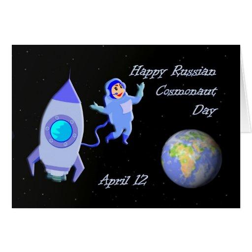 Cosmonauta día 12 de abril ruso feliz tarjeta de felicitación