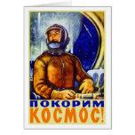 Cosmonauta retro del soviet del kitsch del vintage felicitacion