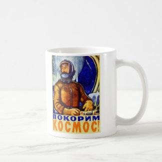 Cosmonauta retro del soviet del kitsch del vintage tazas de café