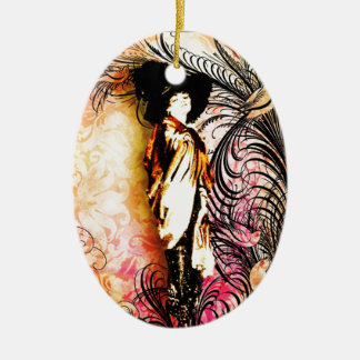 Cosmopolita nuevo adorno navideño ovalado de cerámica