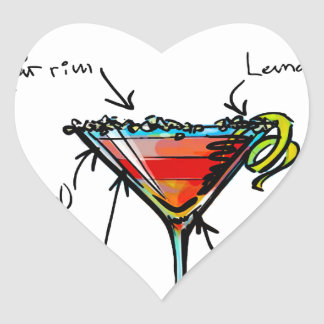 Cosmopolitan Cocktail Recipe Heart Sticker