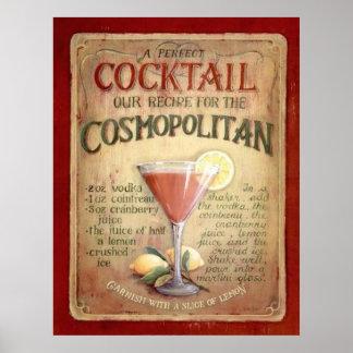 cosmopolitan cocktail recipe poster