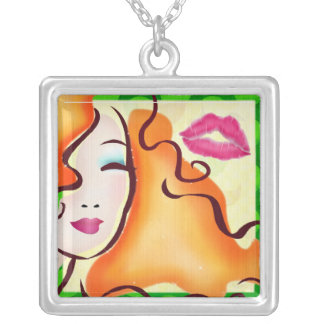 Cosmopolitan Pop Art SQUARE ONLY Silver Plated Necklace