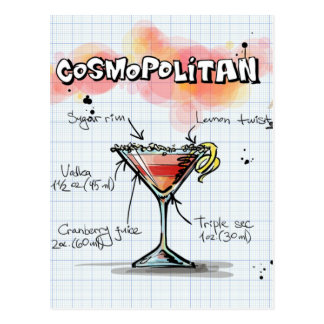 Cosmopolitan Recipe - Cocktail Gift Postcard