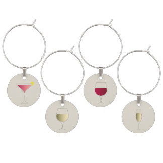 Cosmopolitan, white wine, red wine and champagne wine charm