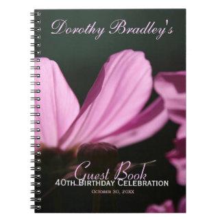 Cosmos 40th Birthday Celebration Custom Guest Book Spiral Notebook