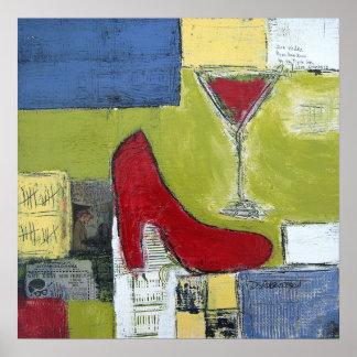 Cosmos del amor de los chicas y zapatos rojos de D Póster