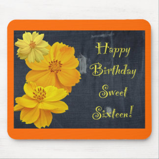 Cosmos Floral Birthday Sweet Sixteen Mouse Pad