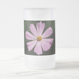 Cosmos Flower Frosted Glass Beer Mug
