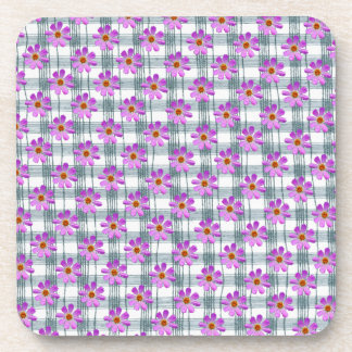 Cosmos flower with line background coasters