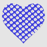 Cosmos FLowers with blue background Heart Sticker