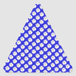 Cosmos FLowers with blue background Triangle Sticker
