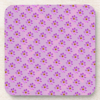 Cosmos Flowers with pink background Drink Coasters