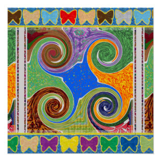 Cosmos Galaxy Healing Spin Waves Energy Wheel gift Poster