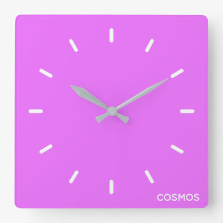 Cosmos purple color name square wall clock