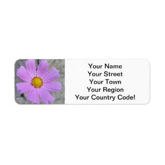Cosmos Purple Flower Return Address Label
