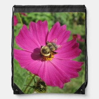 Cosmos Red Flower Bee Cinch Bag