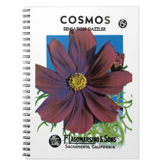 Cosmos Seed Packet Label Spiral Notebook