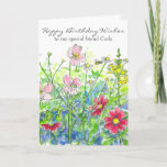 """Cosmos Watercolor Flower Happy Birthday Friend Card<br><div class=""""desc"""">A colorful floral happy birthday card to a special friend featuring yellow snapdragons,  bright pink cosmos,  chamomile and pink wildflowers with a visiting honey bee drawn in pen and ink with watercolor.  You can customize the name and/or wording to fit your needs.</div>"""