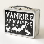 """Cosplay Creepy Cute Gothic Vampire Apocalypse Metal Lunch Box<br><div class=""""desc"""">Editable Cosplay Alternative Goth Gothic Vampire Apocalypse Lunch Box design with editable type and white blood splats. Add your name and become the heroic nurse in a vampire movie or become Doctor Bats. Play with this design - all editable text and blood splatters.</div>"""