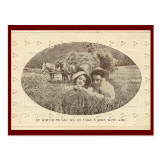 Cosquillas para montar el vintage 1912 tarjetas postales