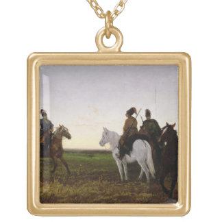 Cossacks on Horseback, 1874 (oil on canvas) Square Pendant Necklace