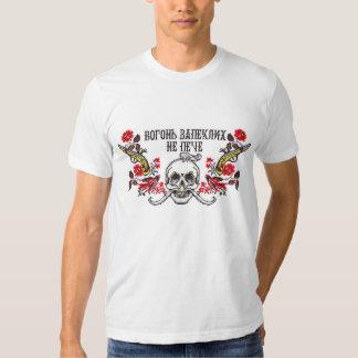Cossack's Skull roses and guns cross stitch T Shirt