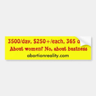 cost of abortion car bumper sticker
