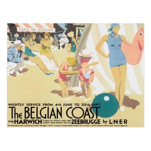 Costa belga Bélgica del vintage Postales