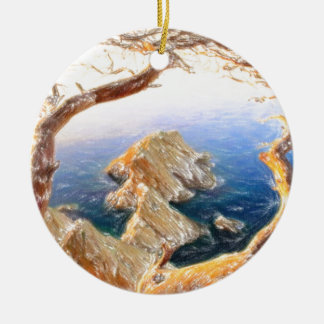 Costa Brava in Spain with crayons Ceramic Ornament