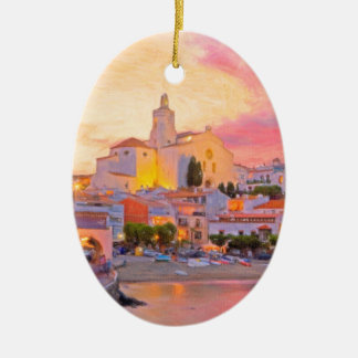 costa brava spain pastel ceramic ornament