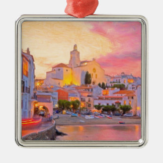 costa brava spain pastel metal ornament