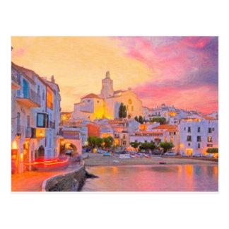 costa brava spain pastel postcard