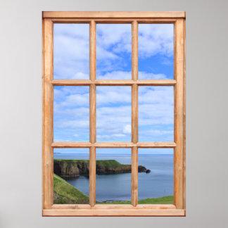 Costa, cielo y vista al mar de Escocia de una vent Posters