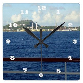 Costa costa de Curaçao Reloj Cuadrado