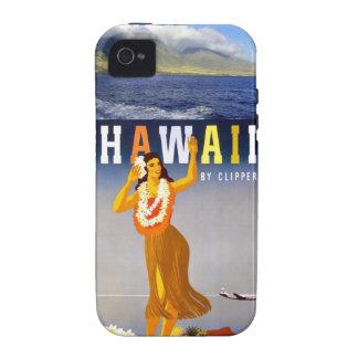 Costa costa de Hawaii y arte retro del bailarín de Vibe iPhone 4 Fundas