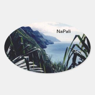 Costa costa de los Pegatinas-NaPali, Kauai, Hawaii Calcomania De Óval Personalizadas