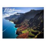 Costa costa del Na Pali en la isla de Kauai, Hawai Postal