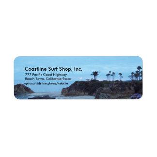 Costa costa escénica del océano etiqueta de remitente