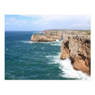 Costa costa rugosa de Sagres Algarve Tarjeta Postal