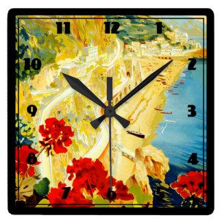 Costa de Amalfi, Italia Reloj Cuadrado
