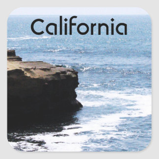 Costa de California Calcomania Cuadradas Personalizadas