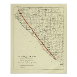 Costa de California que muestra la grieta de San A Impresiones